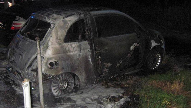 Das Feuer griff auch auf zwei geparkte Autos über. (Bild: LPD Wien)