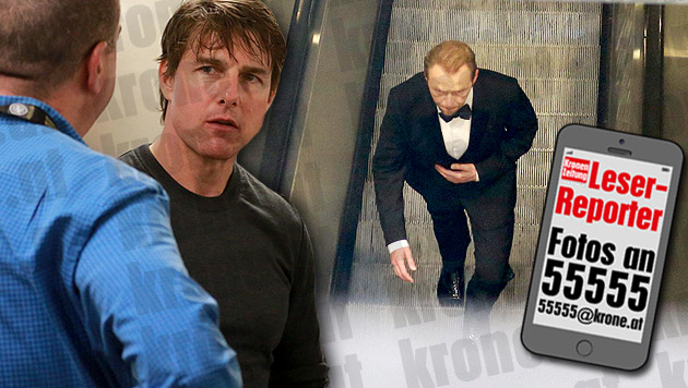 """""""Mission: Impossible 5"""" in der Wiener U-Bahn. Simon Pegg muss 25 Mal die Rolltreppe rauflaufen. (Bild: Karl Schöndorfer)"""