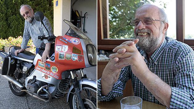 Seit seiner Pension im April fährt Theo Kelz mit seinem Motorrad durch die Welt. (Bild: APA/GERT EGGENBERGER)