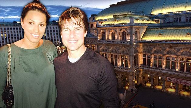 Nach dem Dreh bei der Oper ging's für Cruise ins Wiener Nachtleben, wo er Fabienne Nadarajah traf. (Bild: facebook.com/fabienne.nadarajah, privat, krone.at-Grafik)