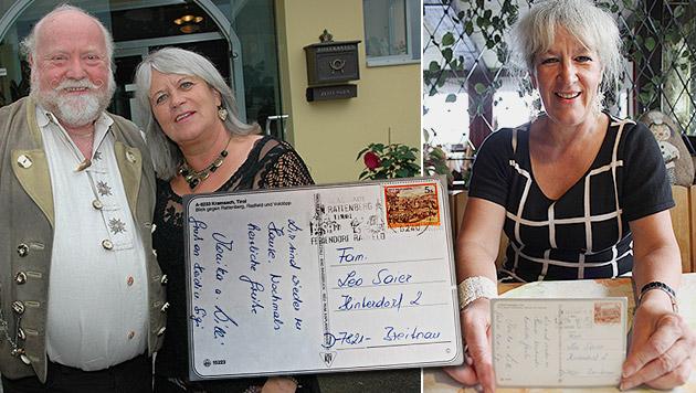 Das Ehepaar Willi und Monika Sch., die verspätete Postkarte - und deren Empfängerin (Bild: EPA, Johann Haginger)