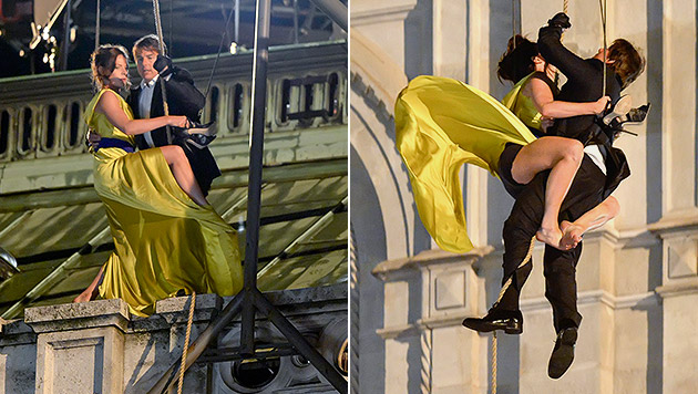 Nächtliche Action an der Wiener Staatsoper mit Tom Cruise und der Schwedin Rebecca Ferguson (Bild: APA/EPA/Herbert Neubauer)