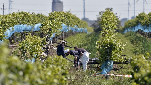 Das Wrack stürzte mitten in einem Weinbaugebiet ab. (Bild: APA/HERBERT NEUBAUER)