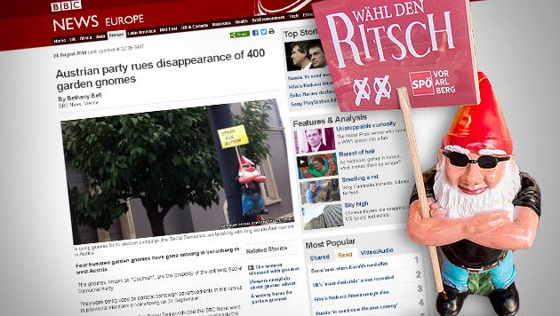 London lacht: BBC berichtet über SPÖ-Gartenzwerge (Bild: APA/DIETMAR STIPLOVSEK, Screenshot: bbc.com)