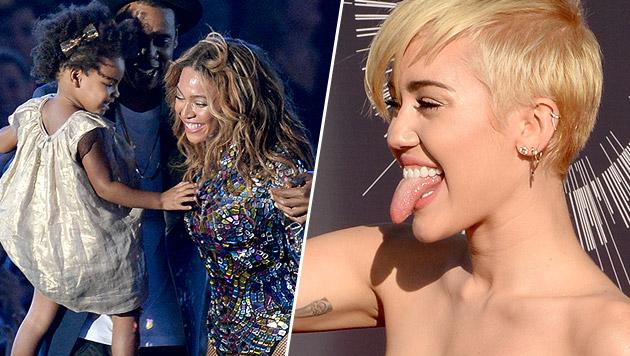 Miley Cyrus züngelt, Beyonce-Töchterl zuckersüß! (Bild: AFP)