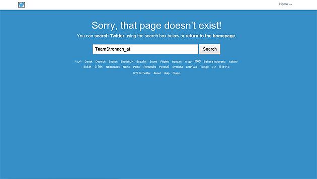 Sucht man nach der offiziellen Twitter-Seite des Team Stronach, erscheint nur mehr diese Meldung. (Bild: Screenshot Twitter.com/TeamStronach_at)
