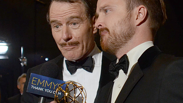 Bryan Cranston und Aaron Paul (Bild: Photo by Tonya Wise/Invision for the Television Academy/AP)