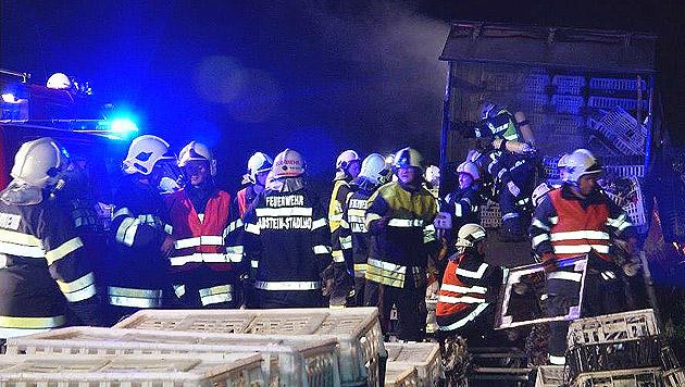 Die Rettungskräfte während des Einsatzes (Bild: APA/FILMTEAM AUSTRIA/ROLAND THEN)