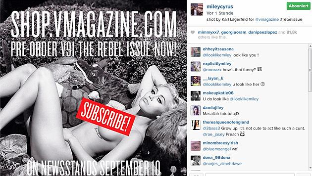"""Mit diesem sexy Vorgeschmack will Miley ihre Fans zum Kauf des """"V""""-Magazins bewegen. (Bild: instagram.com/mileycyrus)"""
