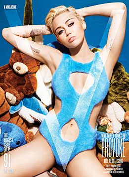 "Auf dem Cover der September-Ausgabe des ""V""-Magazins ist Miley noch bekleidet. (Bild: V Magazine)"