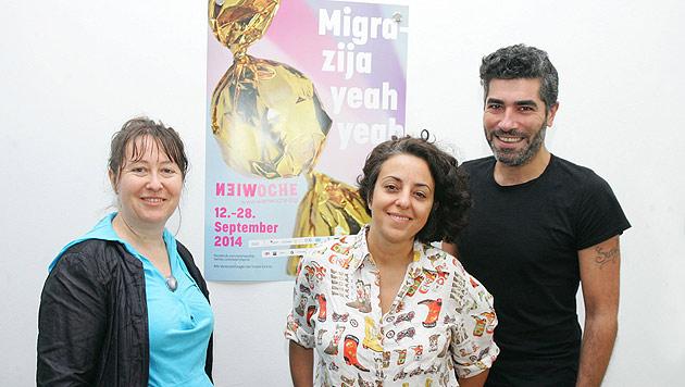 Das Leitungsteam der Wienwoche (v.l.): Radostina Patulova, Petja Dimitrova und Can Gülcü (Bild: WIENWOCHE/APA-Fotoservice/Hautzinger)
