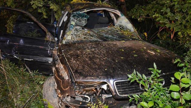 Das Auto prallte gegen mehrere Bäume ehe es zum Stillstand kam. (Bild: Einsatzdoku.at)