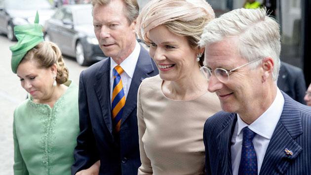 Großherzogin Maria Teresa und Großherzog Henri sowie Königin Mathilde und König Philippe (Bild: EPA)