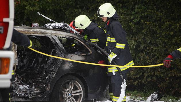 Der BMW wurde bei der Explosion völlig zerstört. (Bild: laumat.at/Matthias Lauber)