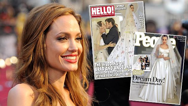 Die Hochzeit von Angelina Jolie und Brad Pitt sorgte für viel Aufsehen. (Bild: AP, People, Hello!)