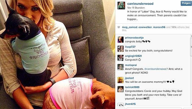 Mit diesem Foto verriet Carrie Underwood ihre Schwangerschaft. (Bild: instagram.com/carrieunderwood)