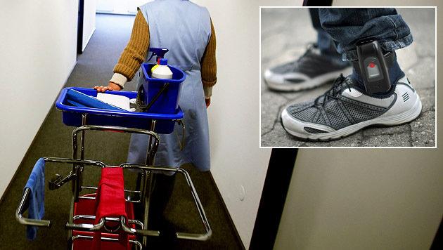 Eine Diebin mit Fußfessel arbeitete als Putzfrau ausgerechnet im Gericht. (Bild: dpa/Oliver Berg, dpa/Fredrik von Erichsen)