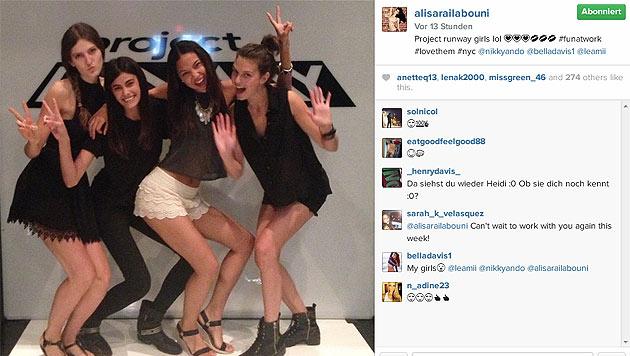 """Alisar Ailabouni freut sich auf Instagram über ihren Einsatz als """"Project Runway Girl"""" (Bild: instagram.com/alisarailabouni)"""