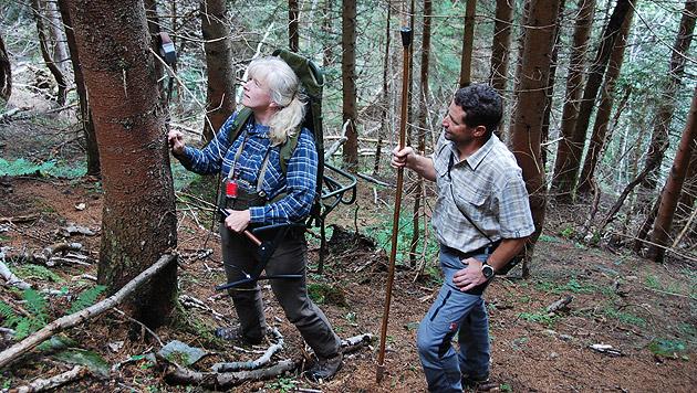 Forscherin Anja Jobin Molinari und Johann Guggenberger mit dem Halsband, das am Baum hing. (Bild: Paolo Molinari)
