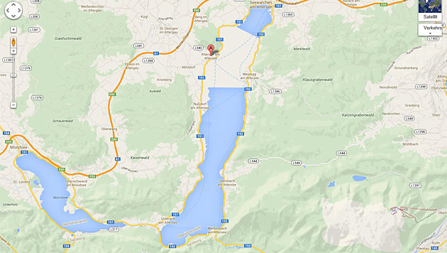 Attersee halb leer: Problem auf Google Maps (Bild: Google)