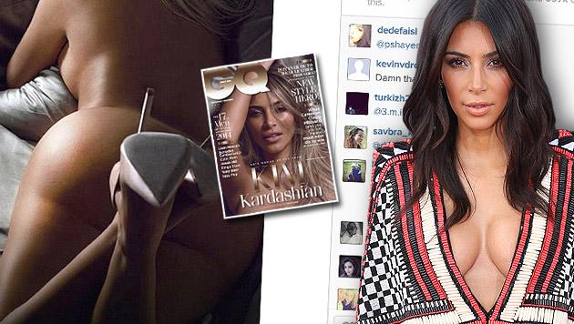 """Auch im """"GQ"""" zeigte Kim ihre nackte Kehrseite. (Bild: AP, GQ, Screenshot instagram.com/kimkardashian)"""