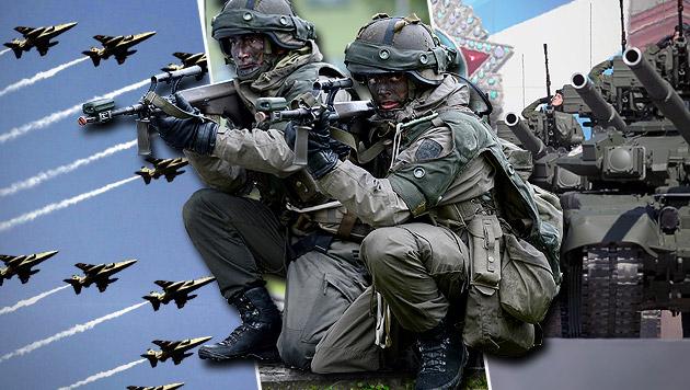 Ungarn und Tschechien für gemeinsame EU-Armee (Bild: APA/EPA/HARISH TYAGI, APA/ROBERT JAEGER, EPA/picturedesk.com)