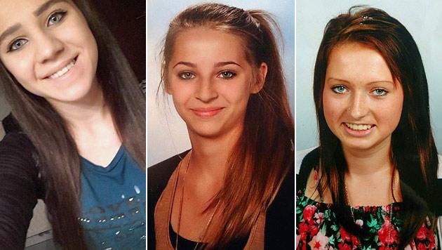 Diese Mädchen sind bereits in den Fängen der IS-Krieger: Sabina (15), Samra (16) und Honorata (16) (Bild: Interpol, APA/POLIZEI)
