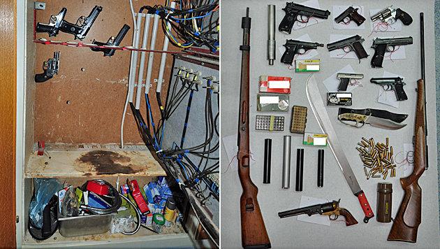Die Waffen wurden in verschiedenen Verstecken - etwa einem Schaltschrank (li.) - entdeckt. (Bild: APA/POLIZEI)