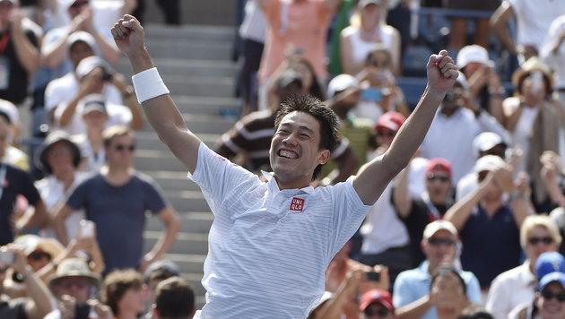 Nishikori besiegte sensationell Djokovic (Bild: APA/EPA/Justin Lane)