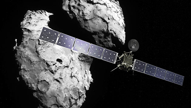 """""""Rosetta"""" vor dem Kometen 67P/Tschurjumow-Gerassimenko (Bild: ESA/ATG medialab, ESA/Rosetta/Navcam)"""