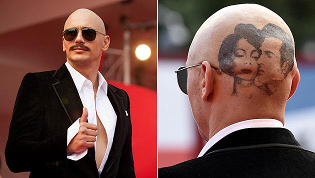 Glatze, Schnauzer und Tattoo: James Franco überrascht mit neuem Look. (Bild: APA/EPA/CLAUDIO ONORATI, AP)