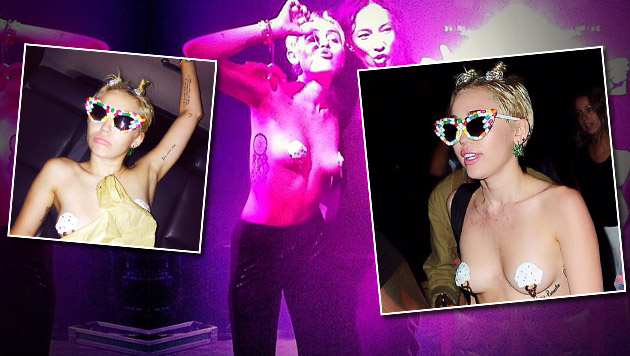 Zu einer Party bei der New York Fashion Week kam Miley Cyrus mit Nippel-Hütchen bekleidet. (Bild: instagram.com/mileycyrus)