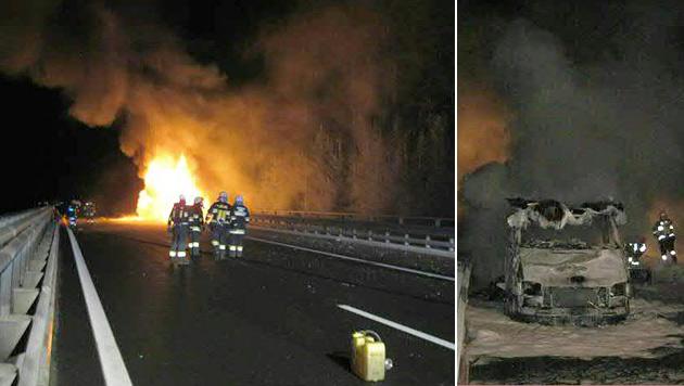 Mitten auf der Tauernautobahn explodierte das Wohnmobil. (Bild: APA/FREIWILLIGE FEUERWEHR RENNWEG)