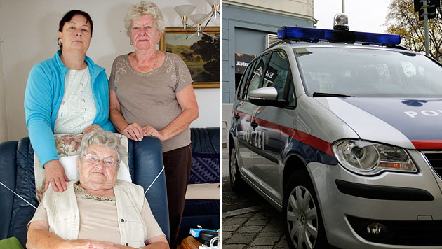 Pflegerin Elena Klimkova (li.) mit Marlene Füreder-Kitzmüller und der 94-jährigen Maria Ganser. (Bild: Markus Schütz, Andreas Graf)