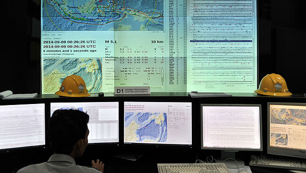 Die Erdbebenwarnzentrale in Jakarta (Bild: AFP)