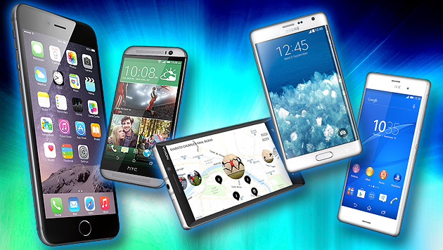 Starke Rivalen: Neue iPhones im Hardware-Check (Bild: Apple, HTC, Nokia, Samsung, Sony, thinkstockphotos.de)