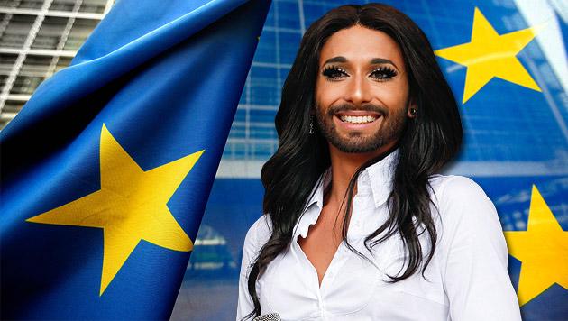 Conchita Wurst tritt vor dem Europaparlament auf (Bild: APA/EPA/ERWIN SCHERIAU, EPA, krone.at-Grafik)