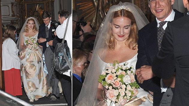Die hinreißende Braut trug ein Kleid der britischen Designerin Vivienne Westwood. (Bild: APA/EPA/URSULA DUEREN)