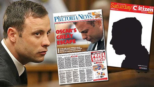 """""""Schande"""" - große Empörung nach Pistorius-Urteil (Bild: AP, pretorianews.newspaperdirect.com, e-edition.citizen.co.za)"""