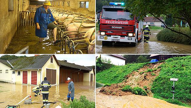 Überflutungen nach Starkregen im Süden Österreichs (Bild: APA/LFV FRANZ FINK, APA/BFV LEIBNITZ)