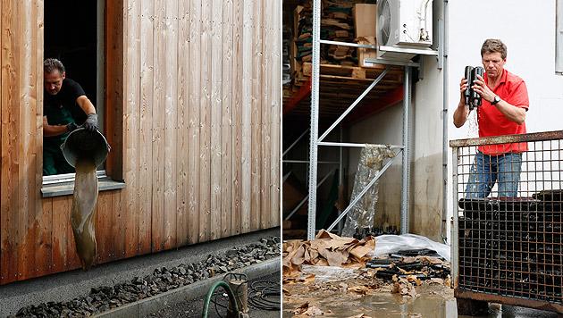 Aufräumarbeiten in der Ölmühle Hartlieb (Bild: APA/ERWIN SCHERIAU)