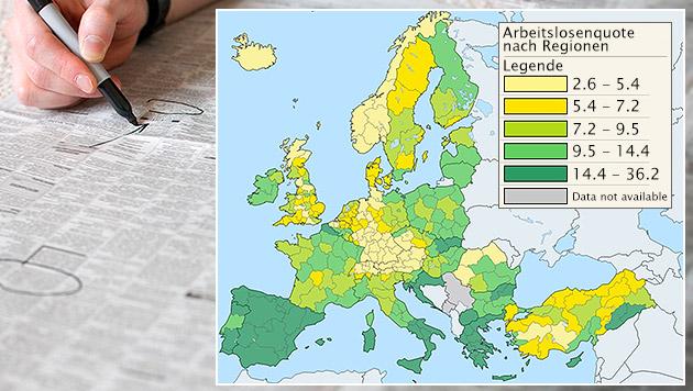 Arbeitslose: Rückgang in EU, Anstieg in Österreich (Bild: Melanie Gath, thinkstockphotos.de, krone.at-Grafik)