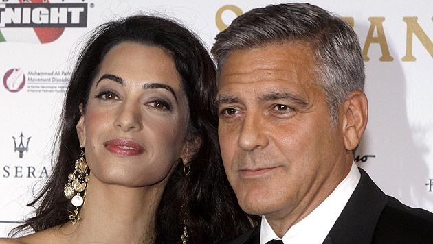 George Clooney und seine Verlobte Amal Alamuddin (Bild: AP)