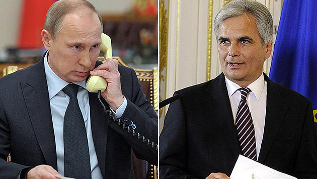Kanzler Faymann telefonierte mit Putin (Bild: APA/EPA/ALEXEI NIKOLSKY/RIA NOVOSTI/KREM, APA/HERBERT PFARRHOFER)