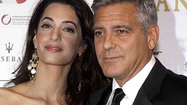 Venedig ist schon jetzt im Clooney-Fieber: Der Hollywoodstar soll am Montag heiraten. (Bild: AP)