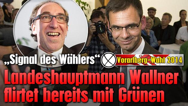 Landeshauptmann Wallner flirtet bereits mit Gr�nen (Bild: APA/GEORG HOCHMUTH, APA/DIETMAR STIPLOVSEK, krone.at-Grafik)