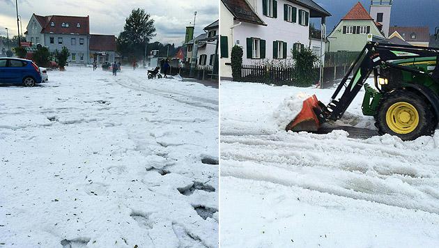 Wege und Fahrbahnen mussten geräumt werden, um sie wieder befahrbar zu machen. (Bild: APA/GEMEINDE FERNITZ)