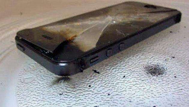 iPhone-Nutzer rösten Handys in der Mikrowelle (Bild: twitter.com)