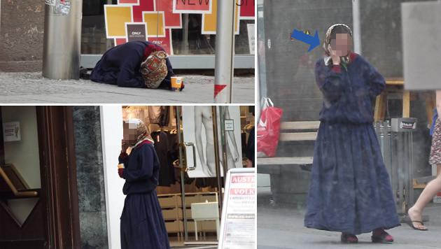 """Eine Bettlerin liegt zunächst am Boden, nach der """"Arbeit"""" steht sie auf und telefoniert. (Bild: """"Krone"""")"""