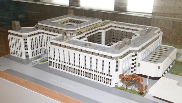 Ein Modell des neuen Flüchtlingsquartiers in Erdberg. (Bild: ANDI SCHIEL)